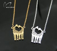 animal theme jewellery - 2016 Vacuum Plating Gold Silver Animal Theme Jewellery Stainless Steel Loeing Heart Giraffe Necklace Pendant Couple Jewelry