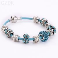 Link, Chain european bracelet - 7 Colors Leather Daisies Murano Shamballa Crystal European Charm Beads Fits DIY Snake chain Bracelets AA27