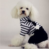 Wholesale Hot Small Pet Dog Hoodie Striped Black Pant Jumpsuit Puppy Clothes Apparels
