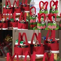 Wholesale Christmas Pouch Pants - Merry Christmas Decoration Wine Bottle Cover Bag Cute Candy Pouch Red Santa Pants Gift Bags for Wedding New Year