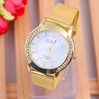 Wholesale GENEVA series of fashion style with Diamond Ladies steel mesh belt quartz watch fashion ladies fashion watch Watch