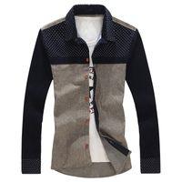 Wholesale Autumn New Arrival Casual Shirt For Men Plus Size XL Patchwork Fashion Shirt Men Long Sleeve Cotton Shirt Men