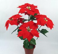 Wholesale Christmas Poinsettia Silk Decorative Flowers Christmas flowers high Quality inches Holiday home decors Christmas supplies