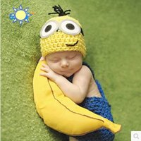 bebe yellow - M babe Baby Girls Boys Crochet Knit Costume Photo Photography Prop Outfits disfraz bebe knitted newborn props