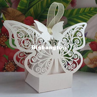 Wholesale 1506 Laser cut Butterfly Wedding favor Box in pearl color candy box wedding favors and gifts wedding supplies casamento