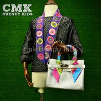 Wholesale Scarf Handbag Wholesaler - CMK-KB003 Multi Cream Colors Designer Small Tote With Scarf for Girls Instagram Hot Selling PU Leather Kids Handbag Children's Bags