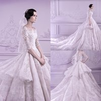 half full - 2015 Custom Made Wedding Dresses Full Tiered Applique Lace Cathedral Train Scoop Half Long Sleeve Ball Gown Plus Size Formal Bridal Gowns