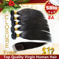 Wholesale 8A Straight Brazilian Hair Bundles with Free Lace Closure Malaysian Peruvian Indian Remy Virgin Human Hair Weaves Dyeable