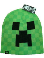 Wholesale Minecraft Creeper Crochet Hats Cartoon Knitted Cap cooliet Knit Beanie Caps Leisure knit cap autumn winter caps for Boy Girl