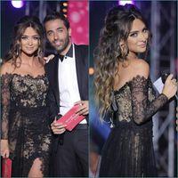 Wholesale 2016 Vestidos De Festa Lace Sexy Red Carpet Celebrity Prom Dresses Bateau Sheer Long Sleeves Arabic Formal Evening Gowns Side Slit BO8121