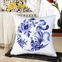 Wholesale blue and white china embroidery Phoenix Pillow cushion cover sofa cushion cover chair car seat pillow cover home decor Christmas