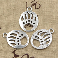 Wholesale 60pcs Charms bear paw mm Antique Zinc alloy pendant fit Vintage Tibetan Silver DIY for bracelet necklace