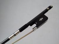 Acheter Ébène pro-Pro Silver Wire incrustation Nice qualité Bow Bass 3/4 Ebony grenouille avec fleur sculptée