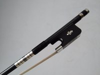 Wholesale Pro Silver Wire inlay Nice Quality Bass Bow Ebony Frog with Carved Flower
