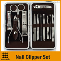 Wholesale 12 in Manicure Set Stainless Steel Pedicure Set Nail Scissors Nail Clippers Kit with Leather Case