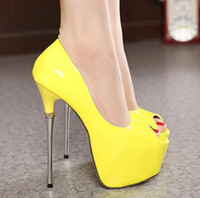 red patent leather shoes - 16cm Super High Heels yellow red pumps for women wedding shoes sexy party prom gown dress shoes size to