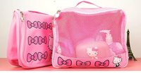 beach cosmetic case - Fashion Cartoon Bowknot Hello Kitty Pu Makeup Storage Bag Cosmetic Cases Designs Option Best For Beach