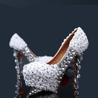 beautiful shoes - 2015 New Platform White Wedding Shoes Beautiful Rose Flower Women Pumps Party Dance Sexy High Heeled Shoes cm size