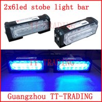 red emergency lights - 2x6 led Police strobe lights vehicle strobe light bar car warning lights led emergency strobe lights DC12V RED BLUE WHITE AMBER