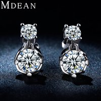 Wholesale MDEAN White gold plated Earring Hot Selling Fashion vintage Earrings for Women AAA Zircon elegant Wedding jewelry ME044