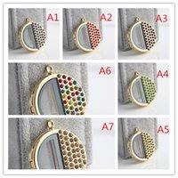 Wholesale Geometric Diamond locket DIY Jewelry transparent glass frames floating charm lockets pendants different ticolor optional