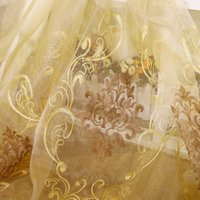Wholesale home decoration luxury embroidered tulle fabric for living room ready curtain