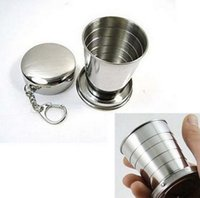 Wholesale 2015 High quality ml Stainless Steel Portable Outdoor Travel Camping Keychain Folding Collapsible Cup mug Fast shipping