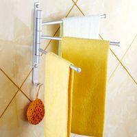 Wholesale Acessorios Para Banheiro Aluminium Towel Rack Swivel Bars Rotary Bar Wall mounted Bathroom Kitchen Towels Holder Hanger order lt no track