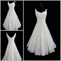 Wholesale Plus Size Lace Wedding Dresses V neck Sexy Tea Length Short Beach Wedding Dress Actual Imagine A line Sleeveless Bridal Wedding Gown
