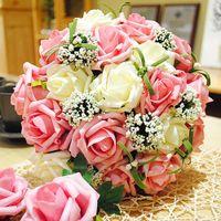 april beautiful - Elegant Cheap Color Rose Wedding Bouquets Beautiful Rose Wedding Bouquets Cheap Bridal Bridesmaid Flowers Artificial Simulate Rose Bouquet