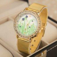 Cheap 2015 Women Elegant Crystal Roman Numerals Golden Plated Metal Mesh Band Wrist Watch