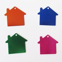 aluminum dog house - 200pcs Aluminum House shape Dog ID Tags Blank Pet Dog Anti lost Identity Tags Pendants