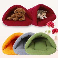 Wholesale D1U Pet Dog Crate Cat Cave Keep Warm Winter Bed House Sleeping Bag Plush Mat