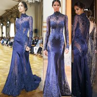 Wholesale Silver Evening Dress Wholesale - Evening Dresses Long Sleeves 2016 Zuhair Murad Navy Blue Satin Applique Lace High Neck Illusion Fashion Sexy Special Occasion Prom Gowns