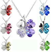 alloy diamond pendant - Fashion petal necklace Four Leaf Clover necklace top grade diamond necklace multicolor crystal rhinestone necklace Pendant Necklaces Jewelry