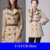 Cheap Burdully Classic British Style Long Trench Coat Autumn Catwalk Women 2014,Double Breasted Cortavientos Trenchcoat,Manteau Femme