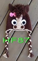 baby colts - Cute Handmade Dark Horse Colts Baby Child Knit Hat Cap Photo Prop girls horse hat Cotton baby beanie caps
