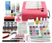 gel nail kit - 1 set Phototherapy Manicure Kit w Pink Uv Lamp colors UV Gel Solid Uv Gel Cleanser Plus Nail Tools Kit Painting Brush Pen Nail Glue