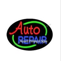 auto repair logo - 20X13 quot Auto Repair Flashing Handcrafted Cap Real Glass Tube Custom LOGO Room Windows Garage Wall Sign NEON SIGNS NEON LIGHTS