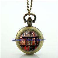 antique bookshelf - Bookshelf Pocket Watch Necklace Floating Memory Locket necklace Vine Pocket Watch Necklace Silver WT