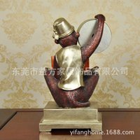study room furniture - European calendar clock ornaments living room furniture monkey study knick knacks resin crafts
