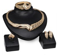 Wholesale 3set Jewelry Set For Women Gold Plated Beads Collar Necklace Earrings Bracelet Fine Rings Sets Party Costume Latest Fashion Trendy BFH789