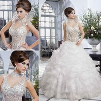 Wholesale Salon Mona Luxury Wedding Dress Lace Beads Corset Ruffles Organza Skirt Removable Beads Collar Ball Gown Beautiful Bridal Wedding Gowns