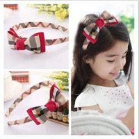 bands england - New ARRIVAL Boutique brand Plaid England children kids baby girls hair accessories hair bands headwear bow flower