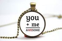 american equal - 10pcs You plus me equals awesome Necklace Glass Photo Cabochon Necklace
