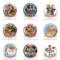 badges diameter - New Arrival A Set of Toy Story Cartoon Logo Tin Buttons Pins Badges MM Diameter Round Brooch Badge Mixed Styles Kids Party Giifts
