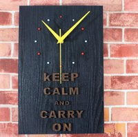 motivational posters - Vintage World War II motivational poster black wood color square wall clock keep calm adhere forward wall wall clock