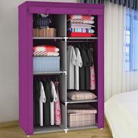 Wholesale Simple wardrobe steelframe folding wardrobe clothes storage cabinet wardrobe hanging