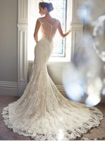best count - 2015 Best Selling Purity Amelia Count Train Wedding Dresses Mermaid Lace V Neck Sheer Straps Sequins Beads Bridal Gowns berta bridal