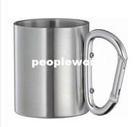 Wholesale 200pcs ml Stainless Steel Outdoor Coffee Mug Camp Mug Double Wall Camping Cup Carabiner Hook Handle Cup Mug